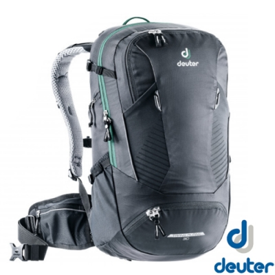 Deuter 新 Trans Alpine 30L 全方位拔熱式排汗透氣單車健行背包(附防水雨罩)_黑