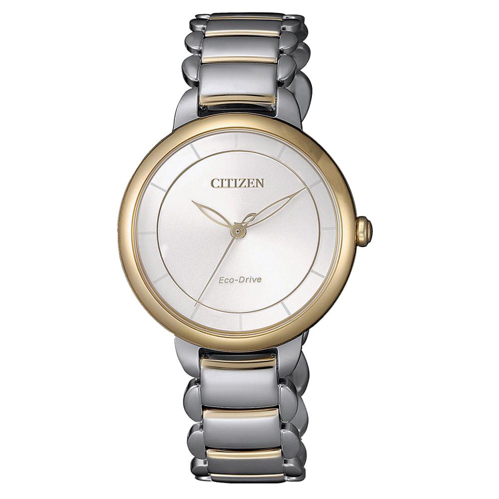 CITIZEN L 光動能時光螺旋女錶(EM0674-81A)-半金
