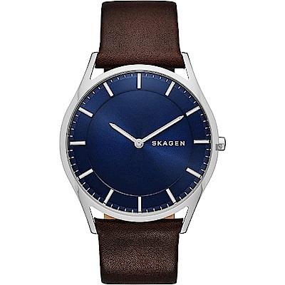 SKAGEN Holst 都會藍調紳士石英錶-藍x咖啡/40mm (SKW6237)