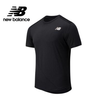 【New Balance】NB ICE 異材質拼接短袖上衣_男性_黑色_AMT03222BK