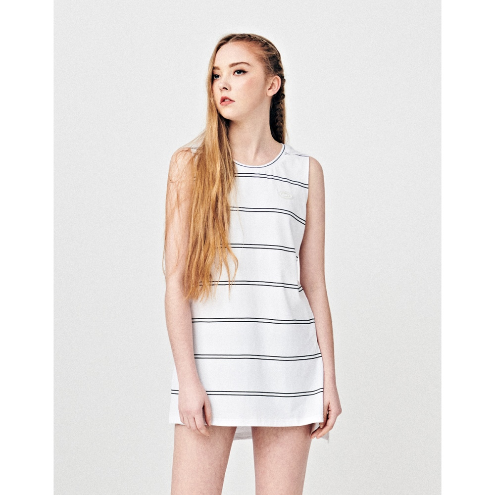 NAVY-雙條紋背心裙-情侶款(兩色)-女【TNC019】