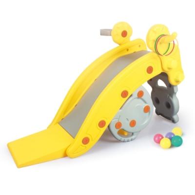 多功能浣熊造型溜滑梯(可變搖椅、座椅)