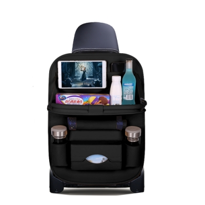 ANTIAN 汽車多功能置物架車用餐桌 後座椅背置物掛袋 車載置物袋 耐磨高端皮質收納袋 儲物架