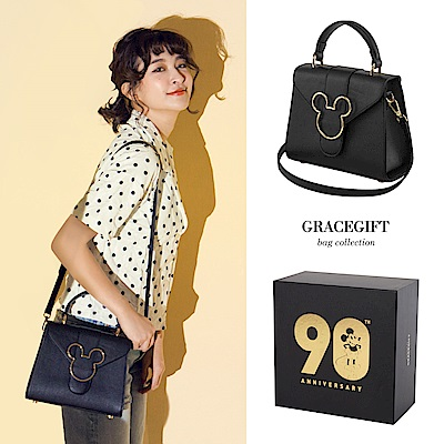 Disney collection by grace gift-米奇頭造型金屬側背包