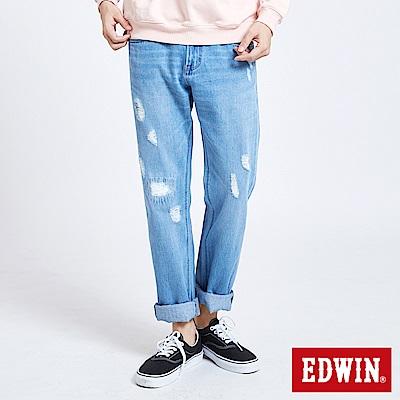 EDWIN 503補釘加工直筒牛仔褲-男-漂淺藍
