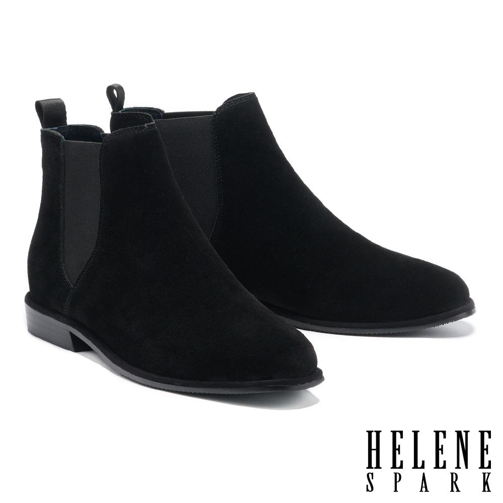 短靴 HELENE SPARK 率性百搭異材質拼接低跟短靴-黑