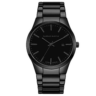 HANNAH MARTIN 午夜迷情立體刻度不鏽鋼腕錶-黑x38mm(HM1756-HH)