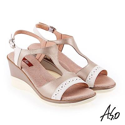 A.S.O 挺麗氣墊 沖孔拼接T型全真皮氣墊楔型涼鞋 金