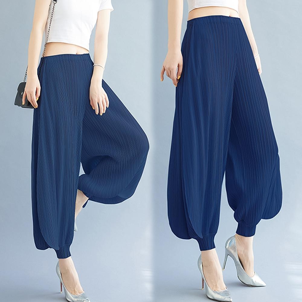 [KEITH-WILL]天藍緞三宅壓褶風喇吧風設計寬褲 (寶藍色)
