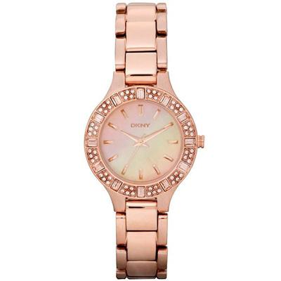 DKNY 唯美饗宴時尚晶鑽腕錶(NY8486)-玫瑰金