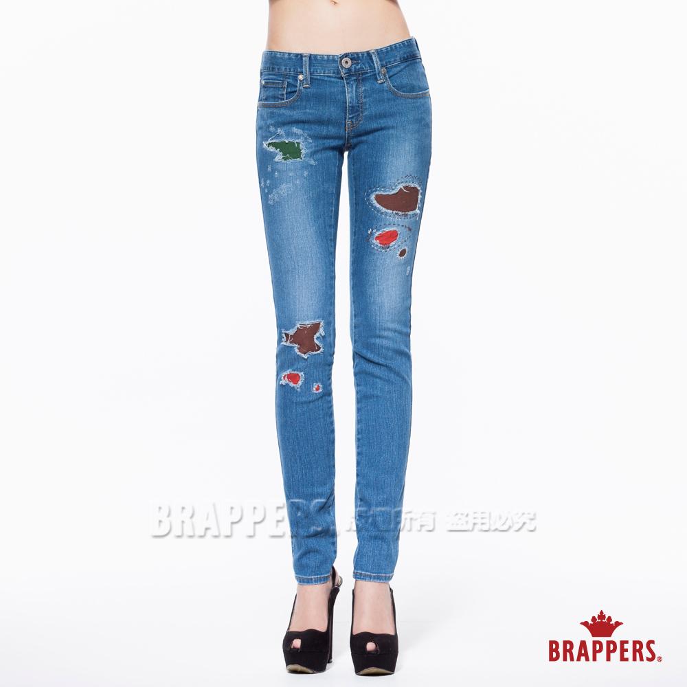 BRAPPERS 女款 新美腳Royal系列-中低腰彈性補釘窄管褲-淺藍