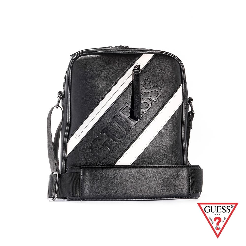 GUESS-男包-黑白斜紋皮革拉鍊肩背包-黑