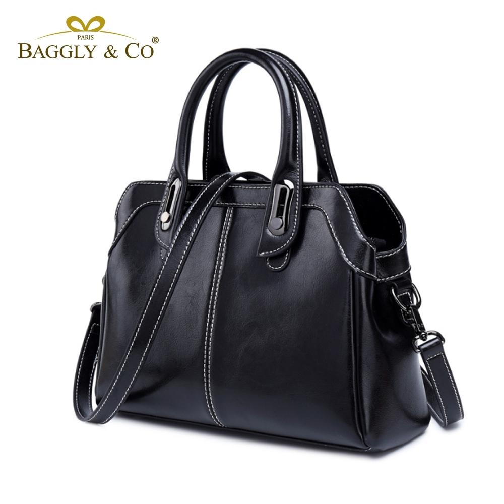 【BAGGLY&CO】佩萊娜真皮優雅梯形手提側背包(三色)