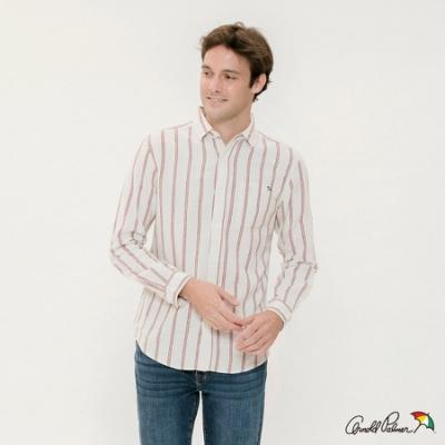 Arnold Palmer -男裝-長袖休閒直條襯衫-白色