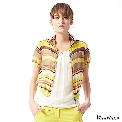 KeyWear奇威名品    筆觸感條紋設計短袖夾克-芥茉黃色