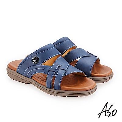 A.S.O 輕量樂活 蠟感牛皮都會休閒涼拖鞋 藍