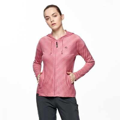 【HAKERS 哈克士】女 沁涼感抗UV快乾條紋外套(莓紅)
