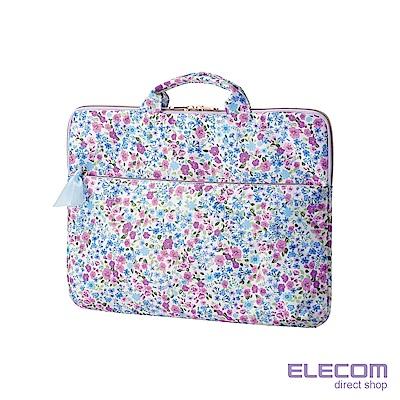 ELECOM 水彩花卉手提收納袋13.3吋-紫
