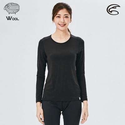 ADISI 女美麗諾混紡羊毛圓領彈性保暖衣AU2021031 / 濃墨黑