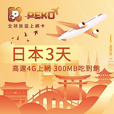 【PEKO】日本上網卡 softbank 日本網卡 日本SIM卡 3日4G上網 300MB吃到飽