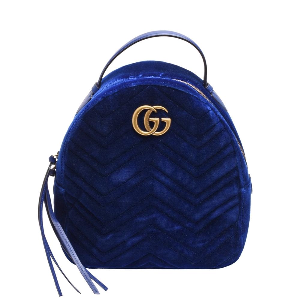 GUCCI GG Marmont絎縫紋天鵝絨金屬雙G LOGO拉鍊手提/後背包(寶藍)