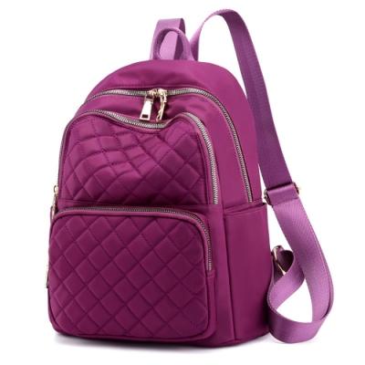 I.Dear-韓版時尚立體菱格紋雙肩拉鍊肩背後背包BG124(紫色)