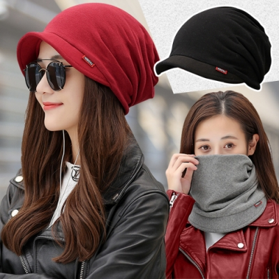 保暖神器~加厚加絨多用防風造型圍脖帽