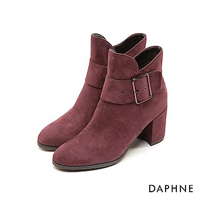 達芙妮DAPHNE 短靴-原色V字靴筒金屬扣帶粗跟短靴-酒紅