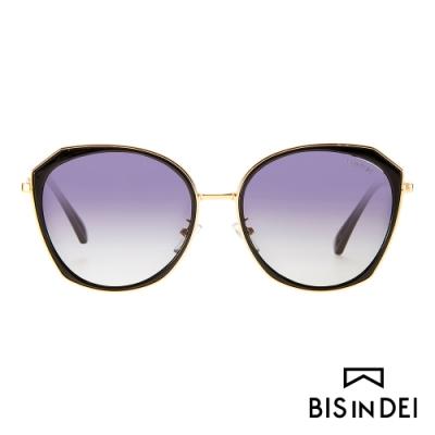 BIS IN DEI 側邊金屬多角框太陽眼鏡-黑