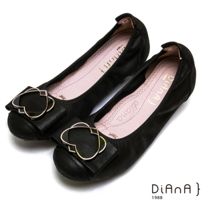 DIANA 心型交織氣質甜美真皮娃娃鞋-漫步在雲端厚切焦糖美人-黑