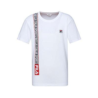 FILA 男款短袖圓領T恤(合身版)-白色 1TET-1516-WT