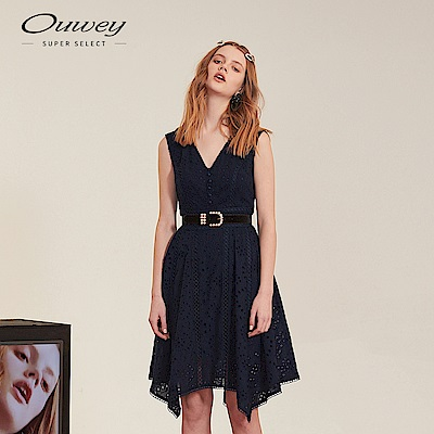 OUWEY歐薇 棉質刺繡縷空蕾絲V領洋裝(藍)