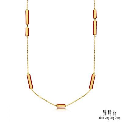 點睛品g collection 矩形紅瑪瑙 黃金項鍊