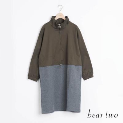 bear two- 拼接抽繩半高領洋裝 - 綠