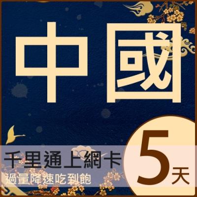中國5日無限上網吃到飽 中國上網卡 中國SIM卡 高速上網吃到飽