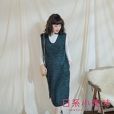 日系小媽咪孕婦裝-正韓孕婦裝 韓系V領坑條針織背心洋裝
