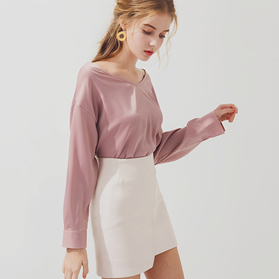 AIR SPACE 金屬環設計緞面長袖上衣(粉紅)