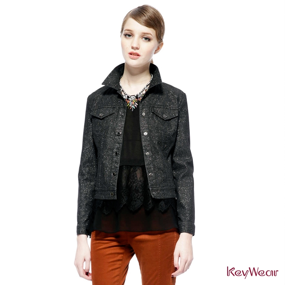 KeyWear奇威名品     經典丹寧牛仔外套-黑色