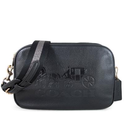 COACH 大馬車Logo荔枝紋全皮革雙色寬帶雙層大相機包(黑色)