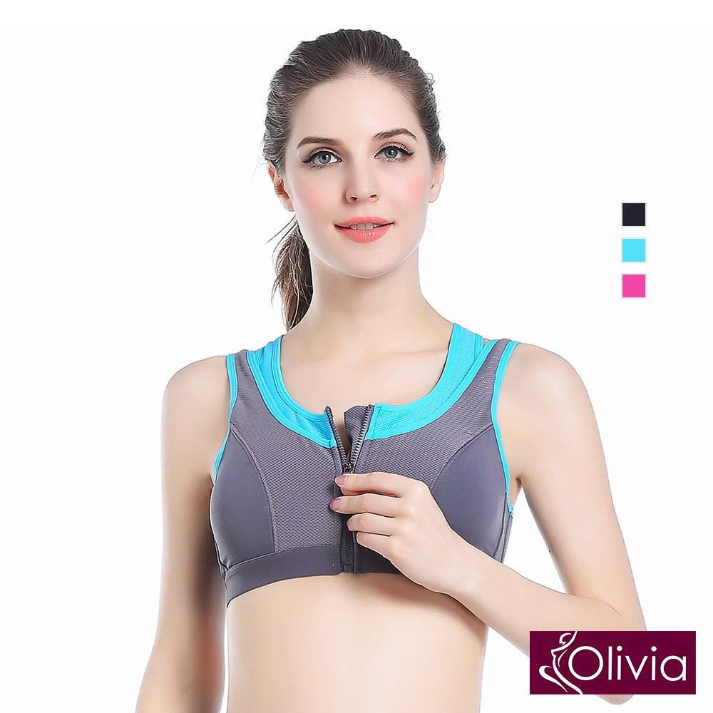 Olivia 專業防震無鋼圈假兩件排汗速乾女用運動內衣(拉鍊款)-藍色