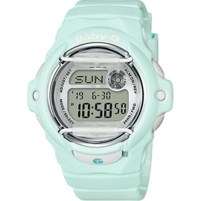 CASIO 卡西歐 Baby-G 花朵系列時尚手錶-薄荷綠(BG-169R-3DR)