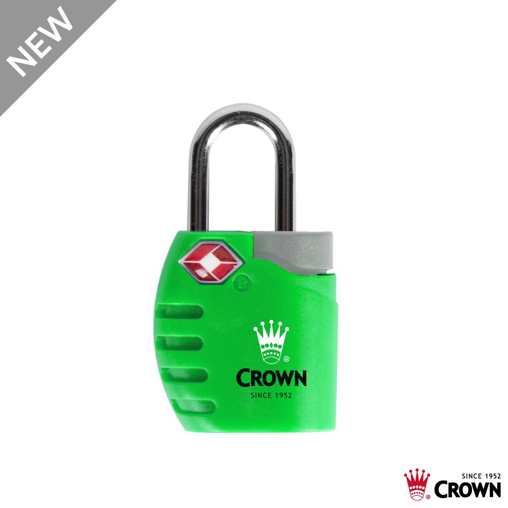 CROWN 皇冠 TSA 鑰匙海關鎖 鎖頭掛鎖 螢光綠
