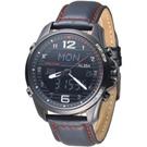 ALBA 飛鷹戰士多功能數位雙顯男錶-IP黑錶殼/黑(AZ4009X1)/40mm