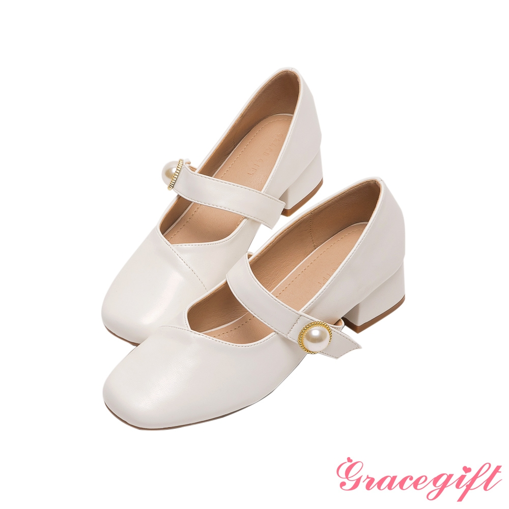 Grace gift-珍珠低跟瑪麗珍鞋 米白