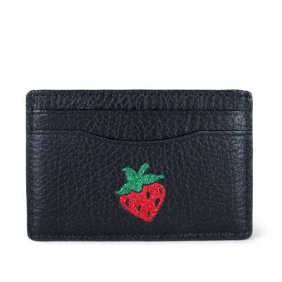COACH Bling Bling小草苺黑色全皮革雙面卡片夾
