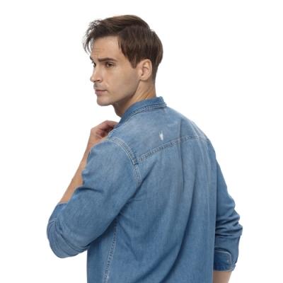 Lee 牛仔襯衫長袖前口袋印花設計 男 中淺藍