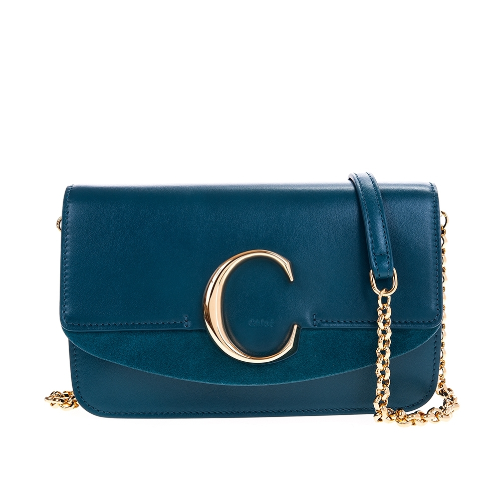 CHLOE 新款CHLOE' C Bag 金釦小牛皮手拿/鍊帶包 (海軍藍)