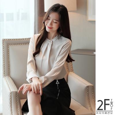 2F韓衣-韓系摺皺立領鈕扣上衣-2色(S-2XL)