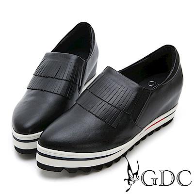 GDC-真皮金屬未來感前衛流蘇微尖頭休閒鞋-黑色