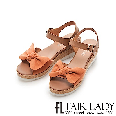 Fair Lady 蝴蝶結飾露趾楔型厚底涼鞋 莓果